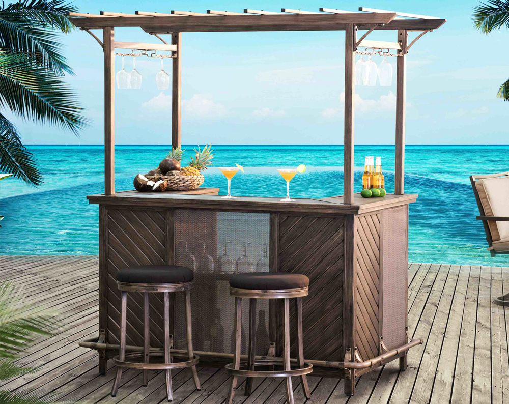 ... Sunjoy Bar Dining Set With Bar Stools. The Bar Stools Can Store  Conveniently Underneath The Dining Table. Enjoy Life Finest Things Over A  Cuppa At The ...